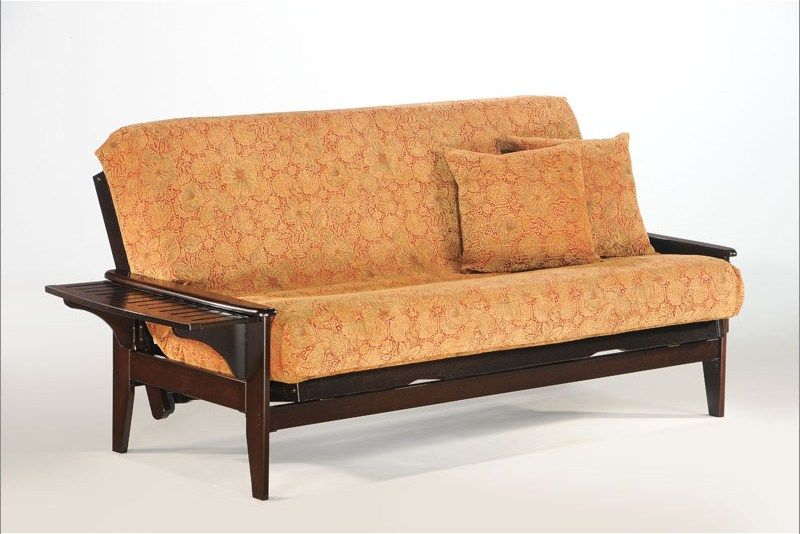 Naples Futon Frame Shown In Chocolate Finish Available Cherry Natural And Honey Oak Finishes Full 449 Queen 499 Twin Loveseat 429